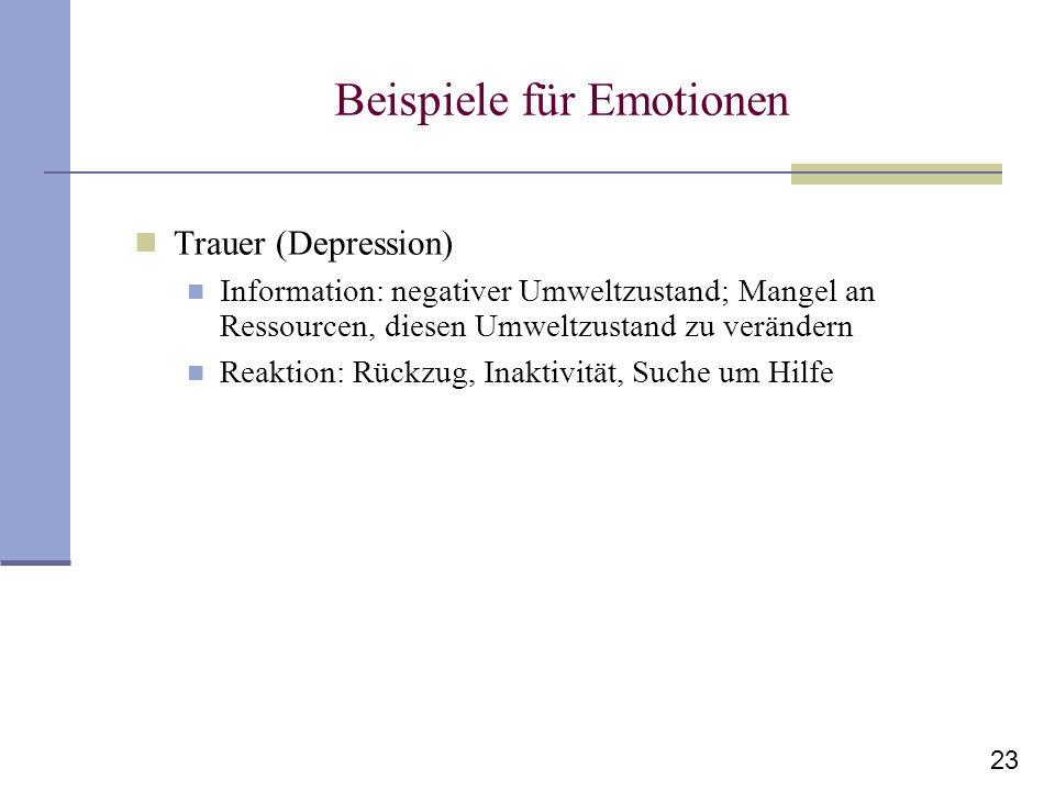23 Beispiele für Emotionen Trauer (Depression) Information: negativer Umweltzustand; Mangel an Ressourcen, diesen Umweltzustand zu verändern Reaktion: