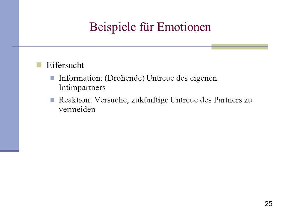 25 Beispiele für Emotionen Eifersucht Information: (Drohende) Untreue des eigenen Intimpartners Reaktion: Versuche, zukünftige Untreue des Partners zu