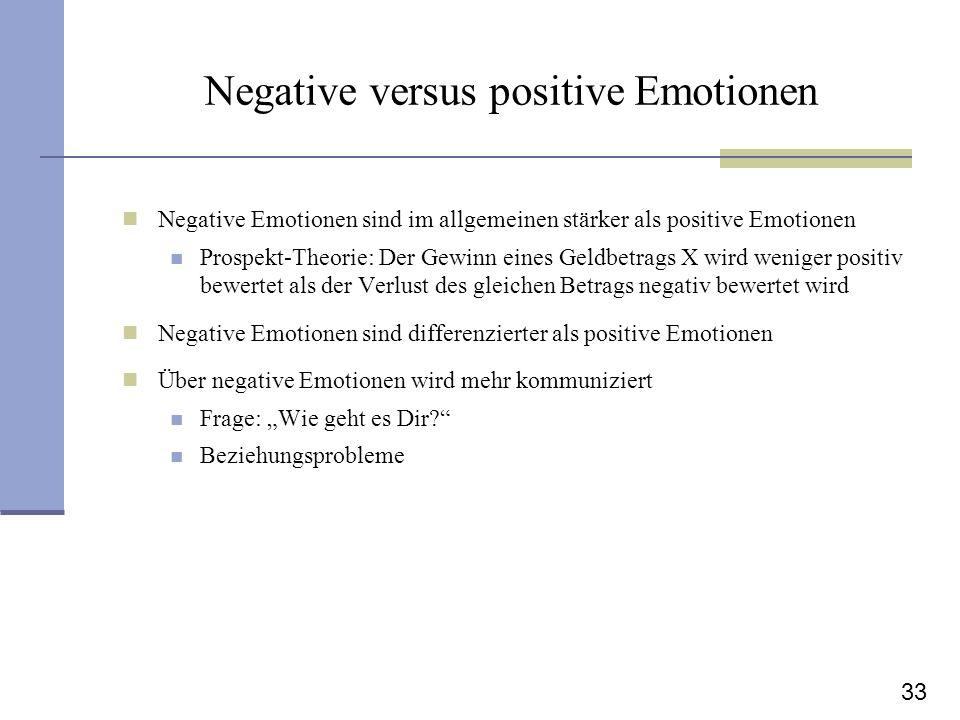 33 Negative versus positive Emotionen Negative Emotionen sind im allgemeinen stärker als positive Emotionen Prospekt-Theorie: Der Gewinn eines Geldbet