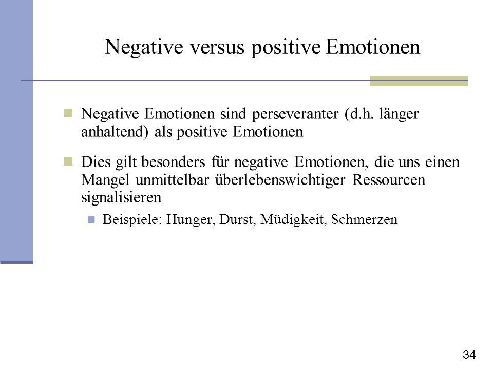 34 Negative versus positive Emotionen Negative Emotionen sind perseveranter (d.h. länger anhaltend) als positive Emotionen Dies gilt besonders für neg