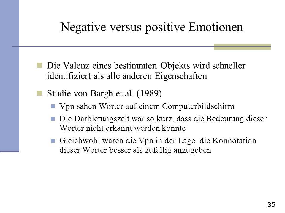 35 Negative versus positive Emotionen Die Valenz eines bestimmten Objekts wird schneller identifiziert als alle anderen Eigenschaften Studie von Bargh