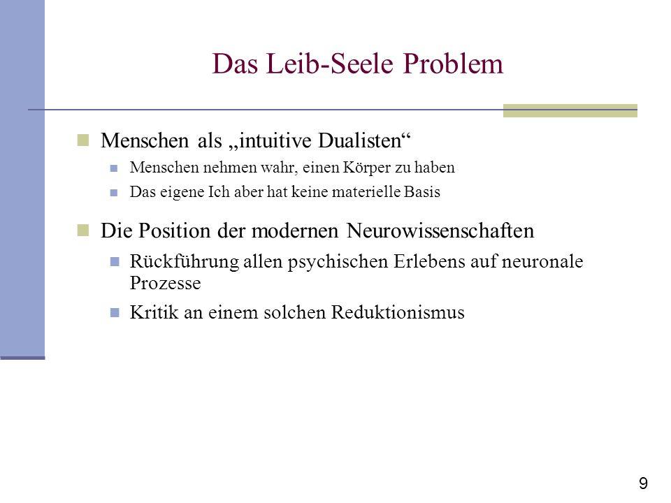 9 Das Leib-Seele Problem Menschen als intuitive Dualisten Menschen nehmen wahr, einen Körper zu haben Das eigene Ich aber hat keine materielle Basis D