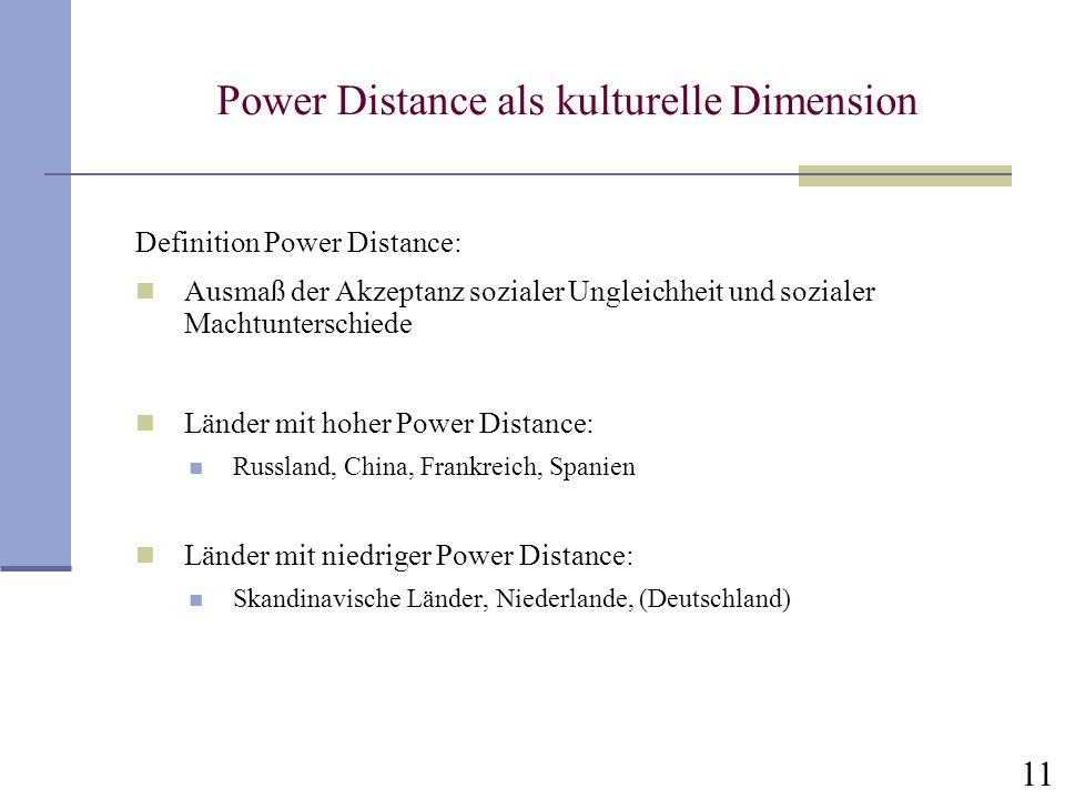 11 Power Distance als kulturelle Dimension Definition Power Distance: Ausmaß der Akzeptanz sozialer Ungleichheit und sozialer Machtunterschiede Länder