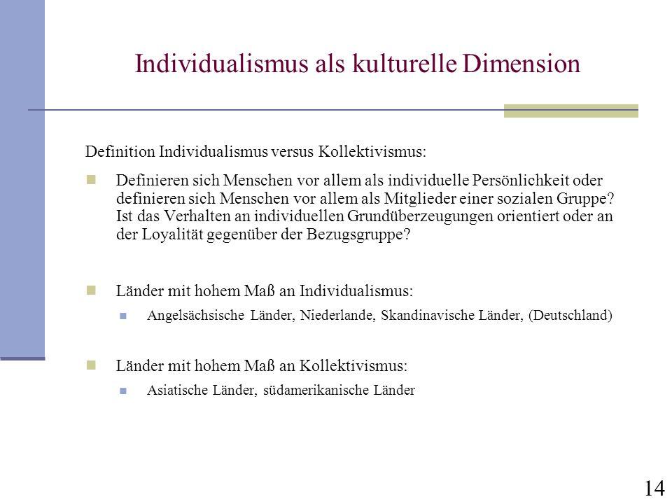 14 Individualismus als kulturelle Dimension Definition Individualismus versus Kollektivismus: Definieren sich Menschen vor allem als individuelle Pers