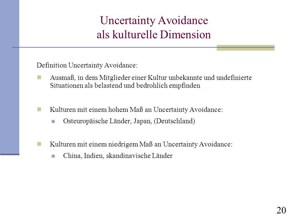 20 Uncertainty Avoidance als kulturelle Dimension Definition Uncertainty Avoidance: Ausmaß, in dem Mitglieder einer Kultur unbekannte und undefinierte