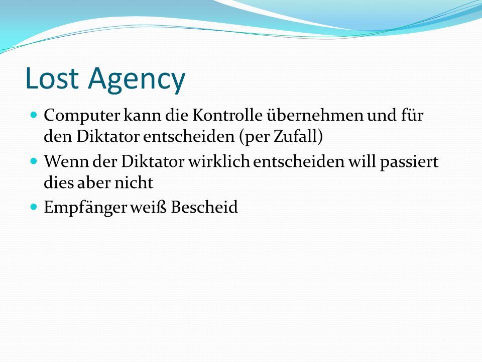 Lost Agency Computer kann die Kontrolle übernehmen und für den Diktator entscheiden (per Zufall) Wenn der Diktator wirklich entscheiden will passiert