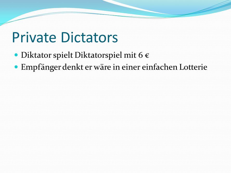 Private Dictators Diktator spielt Diktatorspiel mit 6 Empfänger denkt er wäre in einer einfachen Lotterie