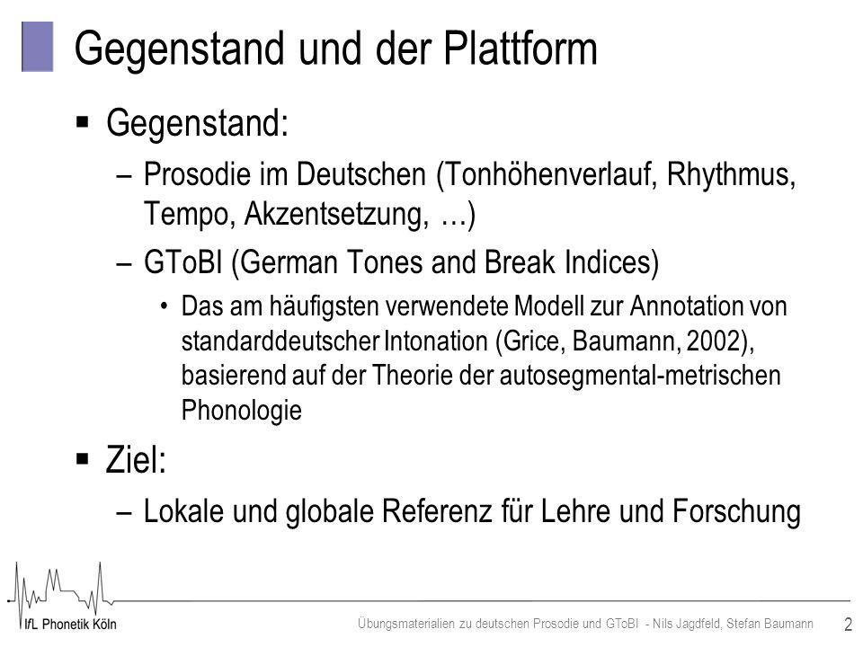 2 Übungsmaterialien zu deutschen Prosodie und GToBI - Nils Jagdfeld, Stefan Baumann Gegenstand und der Plattform Gegenstand: –Prosodie im Deutschen (T