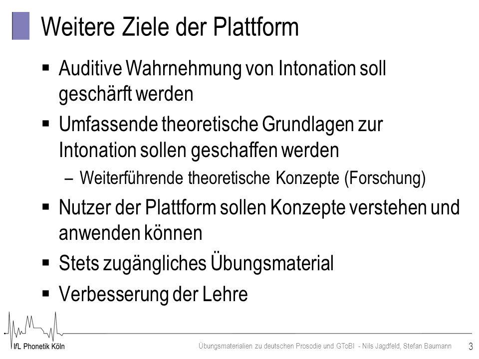 3 Übungsmaterialien zu deutschen Prosodie und GToBI - Nils Jagdfeld, Stefan Baumann Weitere Ziele der Plattform Auditive Wahrnehmung von Intonation so