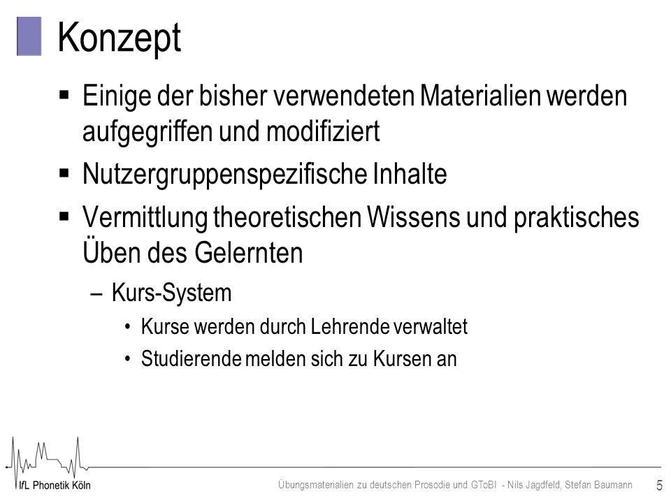 5 Übungsmaterialien zu deutschen Prosodie und GToBI - Nils Jagdfeld, Stefan Baumann Konzept Einige der bisher verwendeten Materialien werden aufgegrif