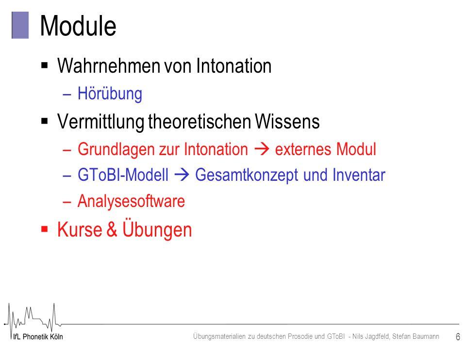 6 Übungsmaterialien zu deutschen Prosodie und GToBI - Nils Jagdfeld, Stefan Baumann Module Wahrnehmen von Intonation –Hörübung Vermittlung theoretisch