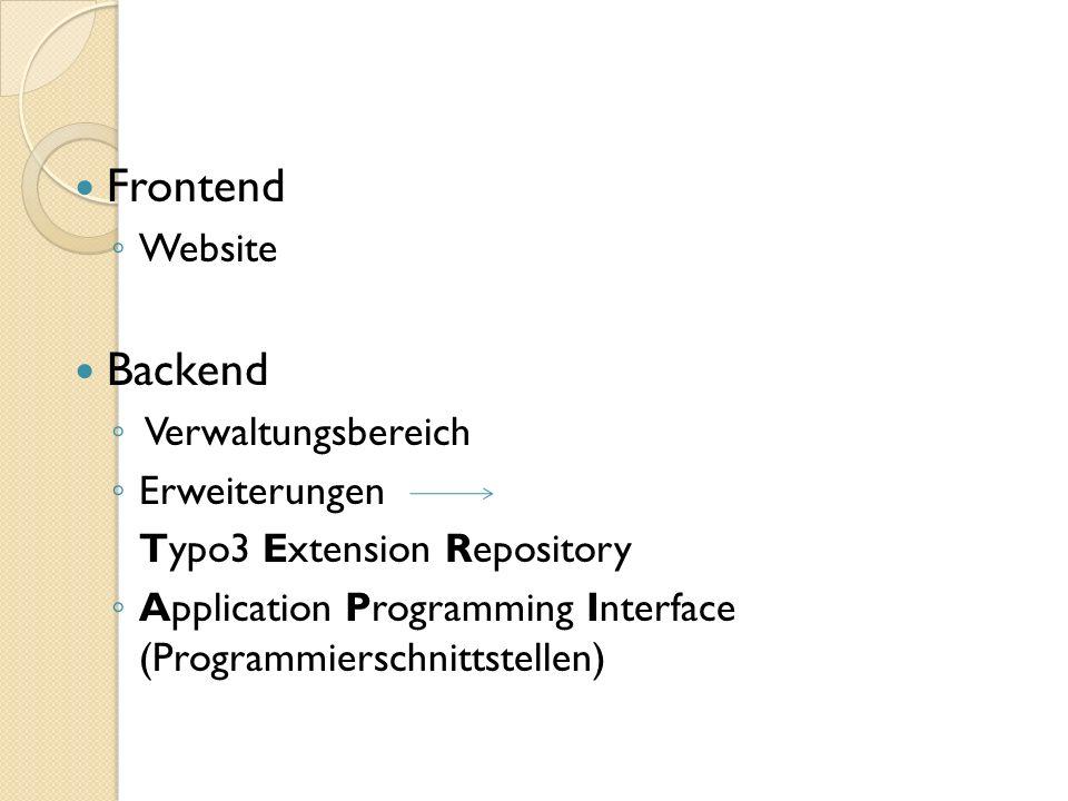 Frontend Website Backend Verwaltungsbereich Erweiterungen Typo3 Extension Repository Application Programming Interface (Programmierschnittstellen)