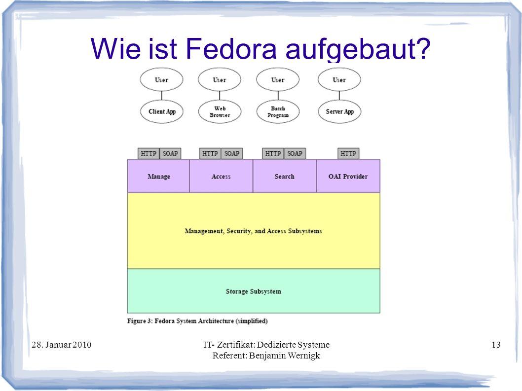 28. Januar 2010IT- Zertifikat: Dedizierte Systeme Referent: Benjamin Wernigk 13 Wie ist Fedora aufgebaut?