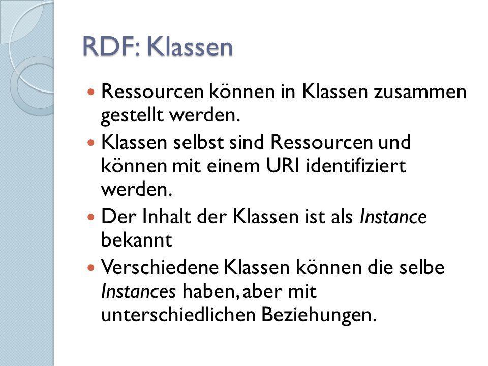 RDF: Klassen Ressourcen können in Klassen zusammen gestellt werden. Klassen selbst sind Ressourcen und können mit einem URI identifiziert werden. Der