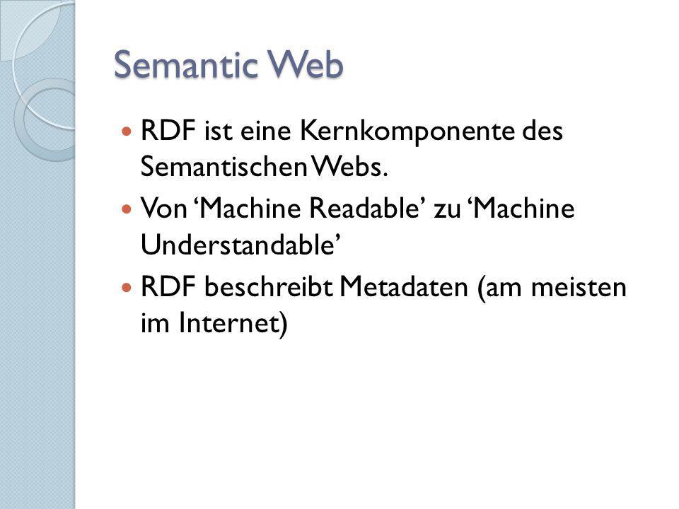 Semantic Web RDF ist eine Kernkomponente des Semantischen Webs. Von Machine Readable zu Machine Understandable RDF beschreibt Metadaten (am meisten im