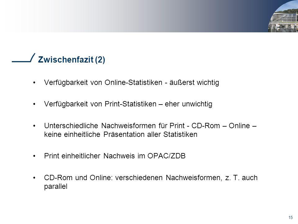15 Zwischenfazit (2) Verfügbarkeit von Online-Statistiken - äußerst wichtig Verfügbarkeit von Print-Statistiken – eher unwichtig Unterschiedliche Nachweisformen für Print - CD-Rom – Online – keine einheitliche Präsentation aller Statistiken Print einheitlicher Nachweis im OPAC/ZDB CD-Rom und Online: verschiedenen Nachweisformen, z.