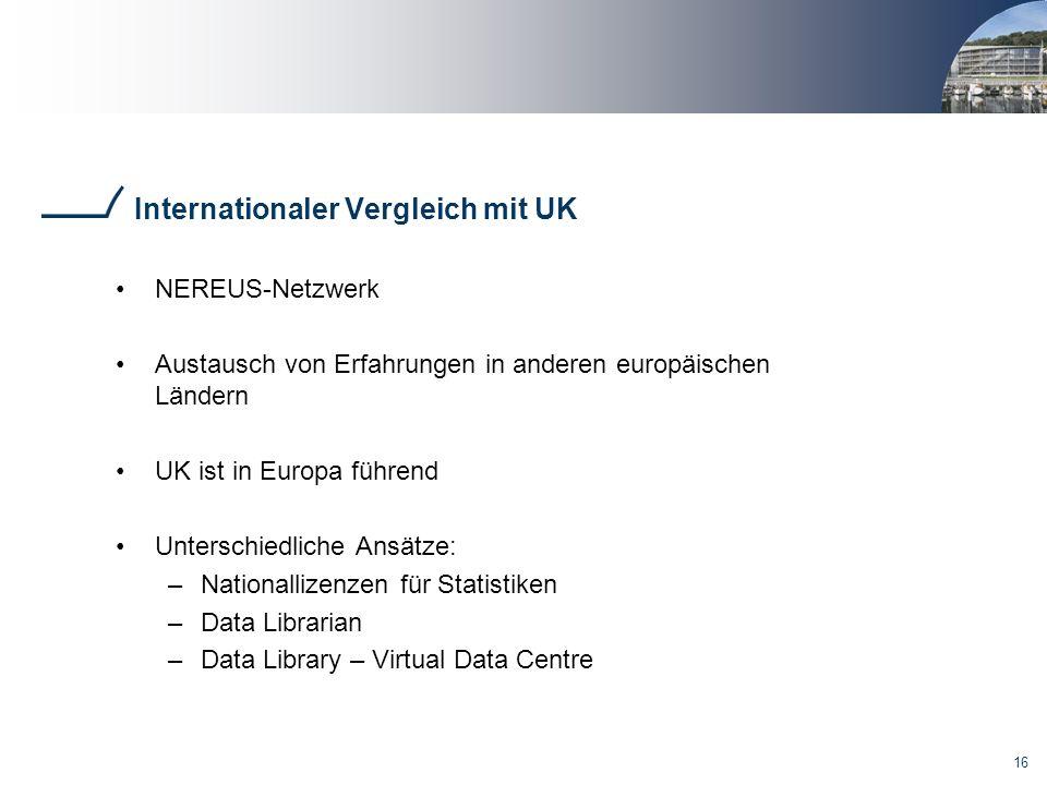 16 Internationaler Vergleich mit UK NEREUS-Netzwerk Austausch von Erfahrungen in anderen europäischen Ländern UK ist in Europa führend Unterschiedliche Ansätze: –Nationallizenzen für Statistiken –Data Librarian –Data Library – Virtual Data Centre