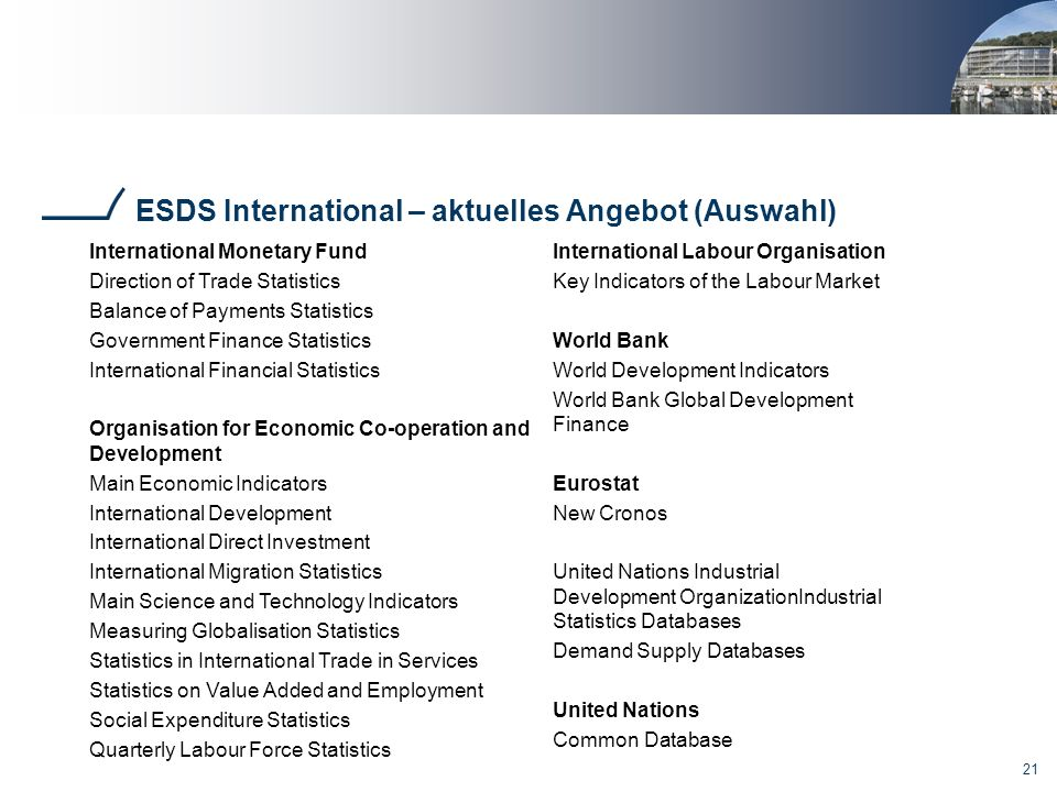 21 ESDS International – aktuelles Angebot (Auswahl) International Monetary Fund Direction of Trade Statistics Balance of Payments Statistics Governmen