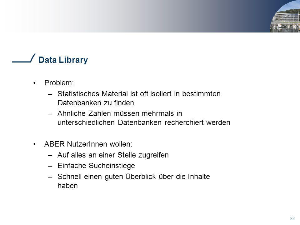 23 Data Library Problem: –Statistisches Material ist oft isoliert in bestimmten Datenbanken zu finden –Ähnliche Zahlen müssen mehrmals in unterschiedlichen Datenbanken recherchiert werden ABER NutzerInnen wollen: –Auf alles an einer Stelle zugreifen –Einfache Sucheinstiege –Schnell einen guten Überblick über die Inhalte haben