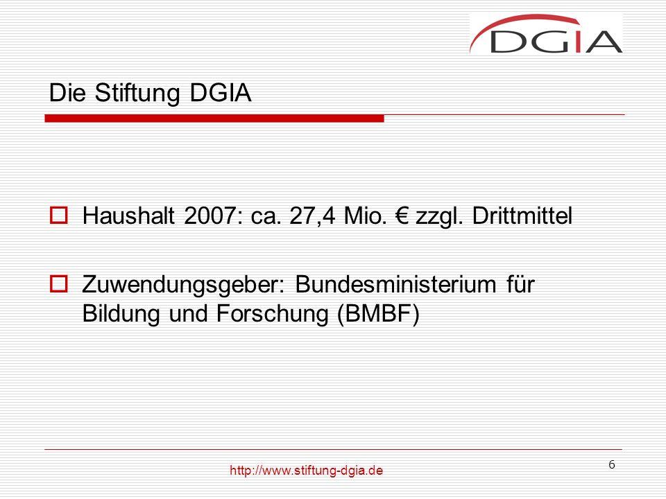 6 Die Stiftung DGIA Haushalt 2007: ca.27,4 Mio. zzgl.