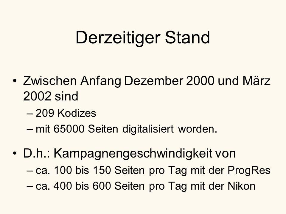 Derzeitiger Stand Zwischen Anfang Dezember 2000 und März 2002 sind –209 Kodizes –mit 65000 Seiten digitalisiert worden.