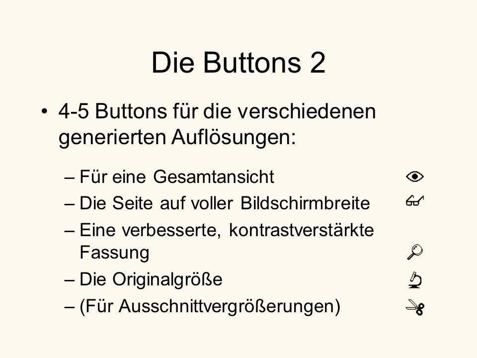 Die Buttons 2 4-5 Buttons für die verschiedenen generierten Auflösungen: –Für eine Gesamtansicht –Die Seite auf voller Bildschirmbreite –Eine verbesserte, kontrastverstärkte Fassung –Die Originalgröße –(Für Ausschnittvergrößerungen)