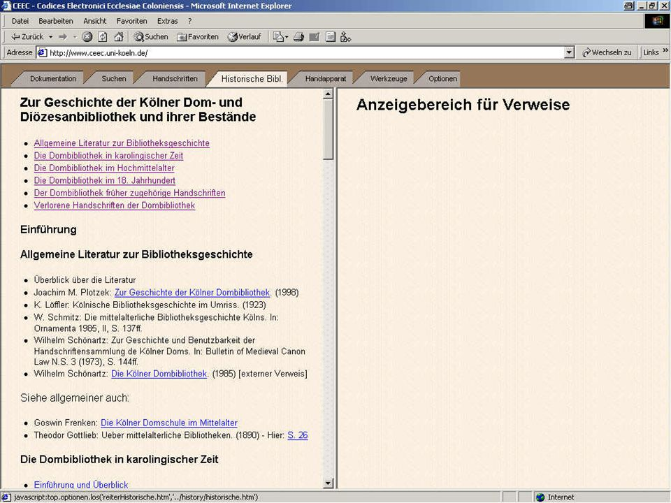 Virtuelle Bibliothek 1: Historische