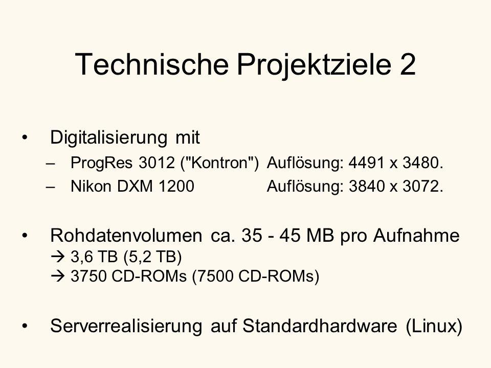 Technische Projektziele 2 Digitalisierung mit –ProgRes 3012 ( Kontron )Auflösung: 4491 x 3480.