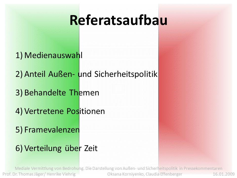 Referatsaufbau Mediale Vermittlung von Bedrohung.