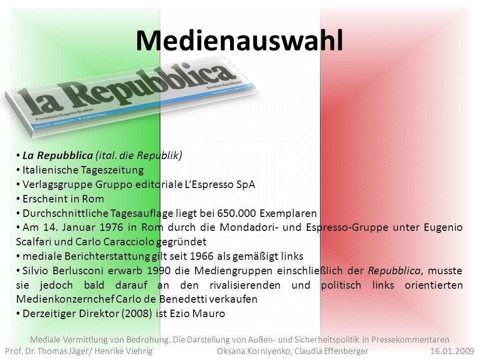 Framevalenzen Mediale Vermittlung von Bedrohung.