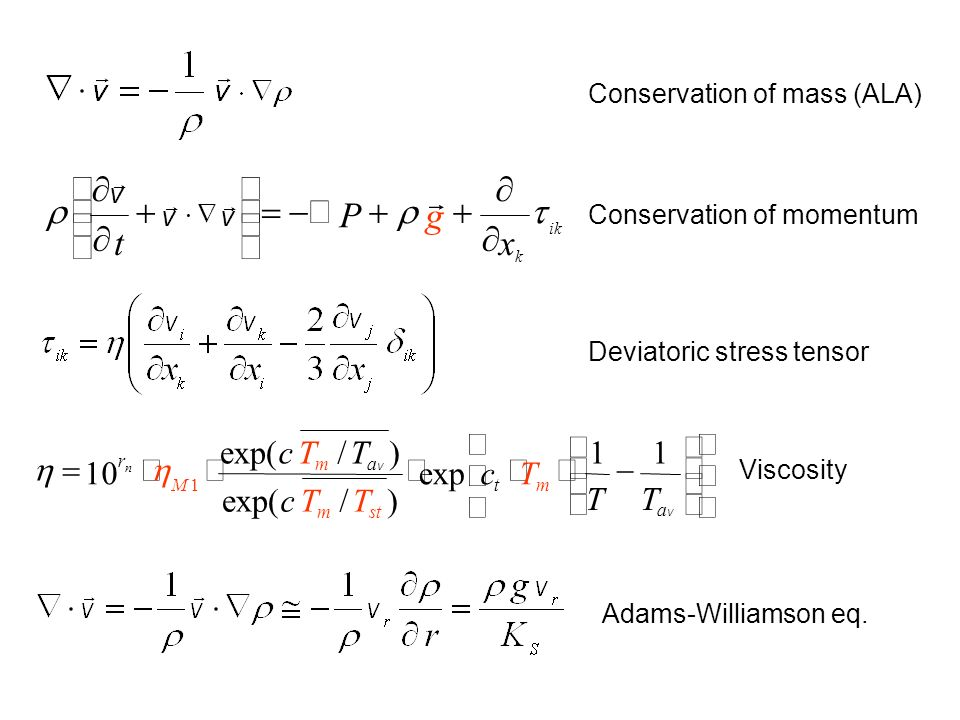Conservation of mass (ALA) Conservation of momentum Deviatoric stress tensor Adams-Williamson eq.