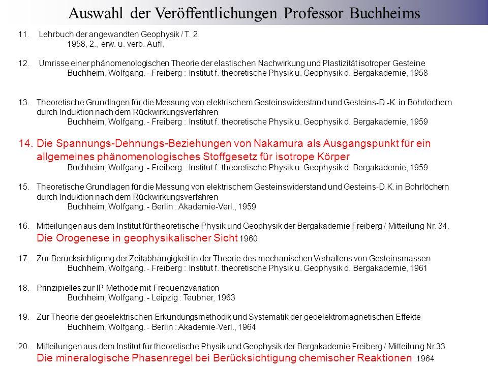 21.Mitteilungen aus dem Institut für theoretische Physik und Geophysik der Bergakademie Freiberg / Mitteilung Nr.