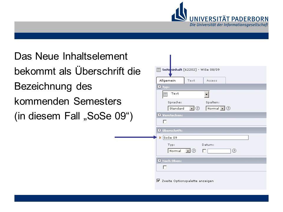 Das Neue Inhaltselement bekommt als Überschrift die Bezeichnung des kommenden Semesters (in diesem Fall SoSe 09)