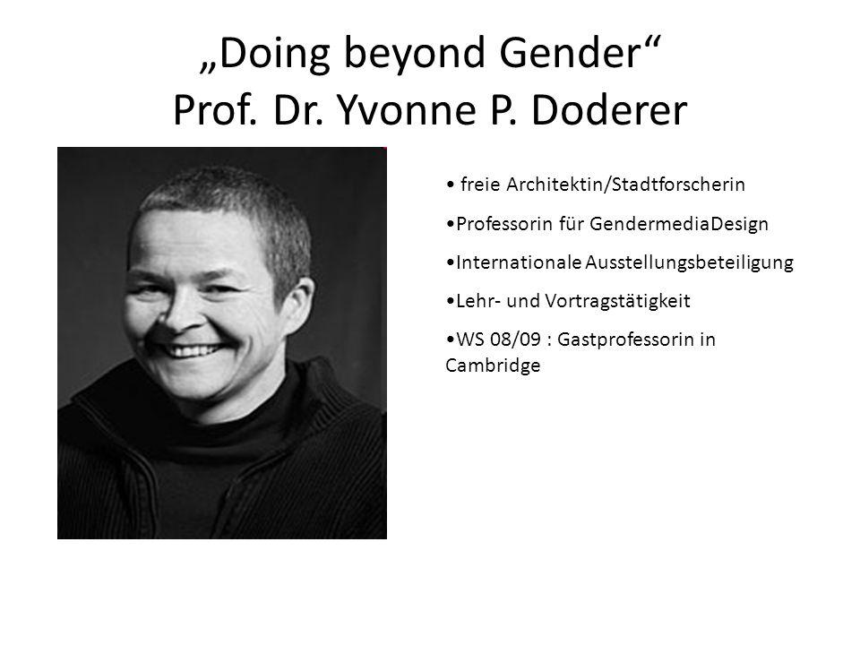 Doing beyond Gender Prof. Dr. Yvonne P. Doderer freie Architektin/Stadtforscherin Professorin für GendermediaDesign Internationale Ausstellungsbeteili