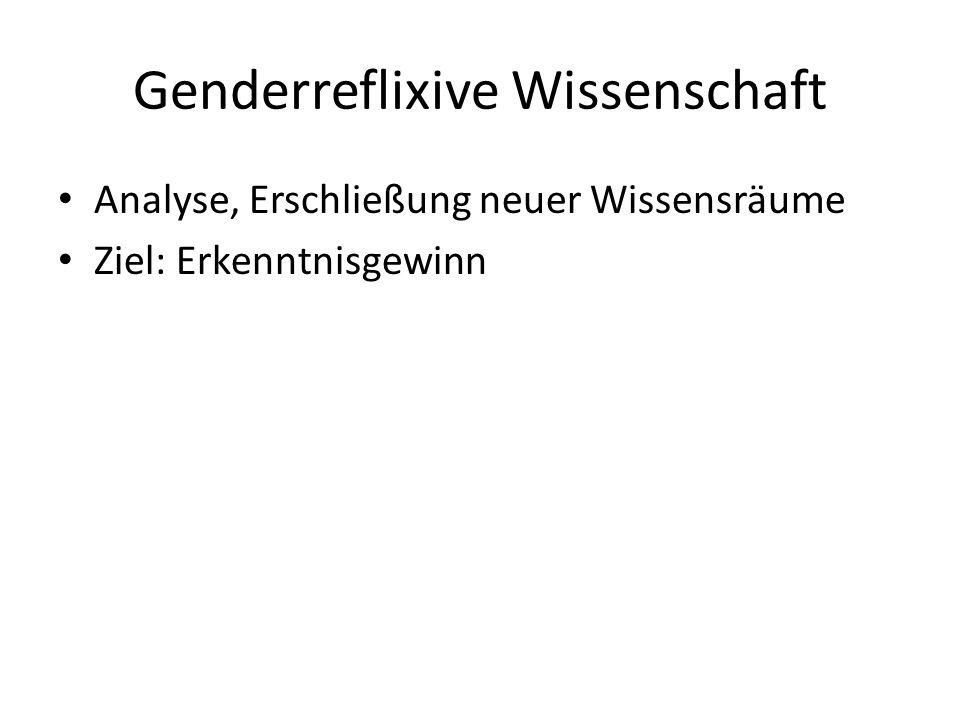 Genderreflixive Wissenschaft Analyse, Erschließung neuer Wissensräume Ziel: Erkenntnisgewinn