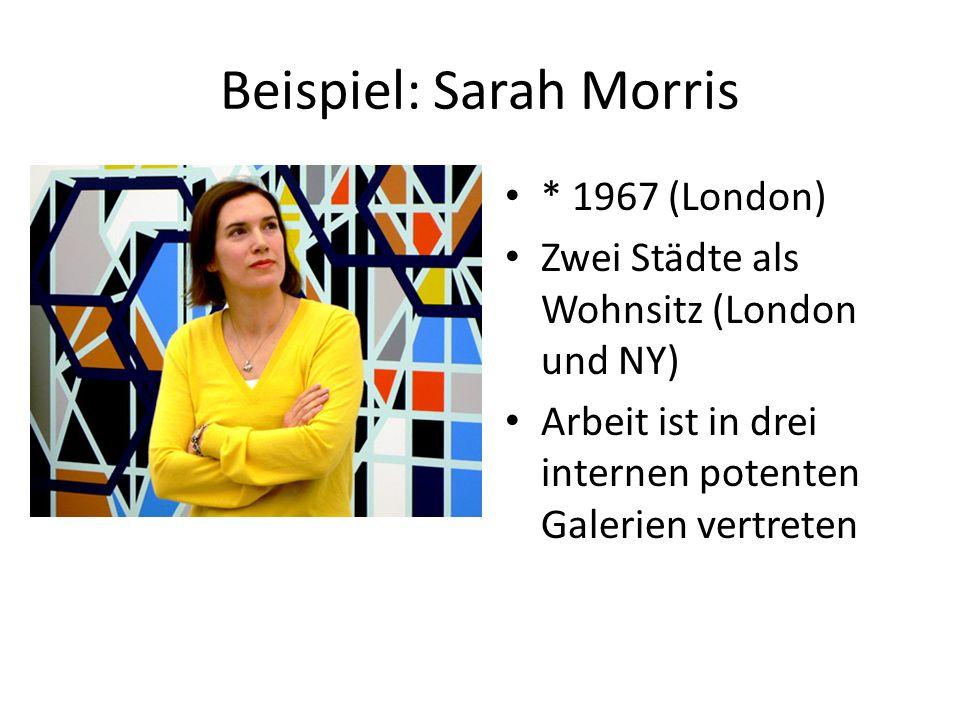 Beispiel: Sarah Morris * 1967 (London) Zwei Städte als Wohnsitz (London und NY) Arbeit ist in drei internen potenten Galerien vertreten