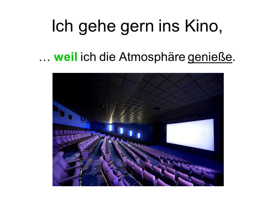 Ich gehe gern ins Kino, … weil ich die Atmosphäre genieße.