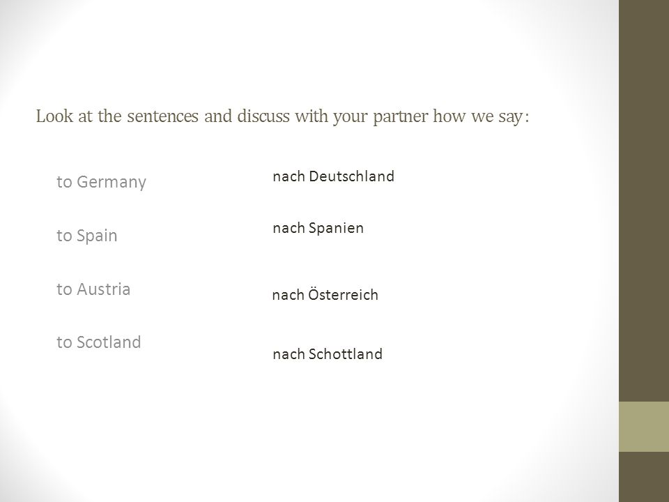 Look at the sentences and discuss with your partner how we say : to Germany to Spain to Austria to Scotland nach Deutschland nach Spanien nach Österre