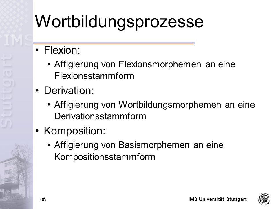 IMS Universität Stuttgart 5 Spezifikation lexikalischer Einheiten Beispielformmorph_statusselegiert Haus, Baum, Auto simplexfreinein elektr-, ident-simplexgebundennein frei, reichsimplexfreija -sam, -abelsimplexgebundenja