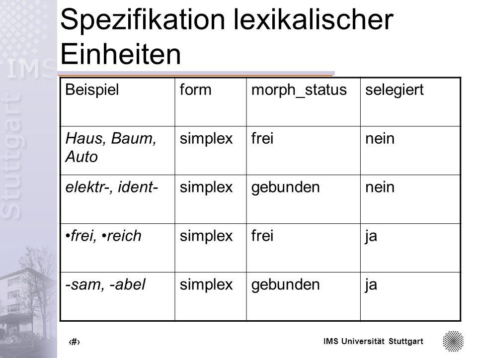 IMS Universität Stuttgart 36 Verwandte Lexika CISLEX (Langer et al.