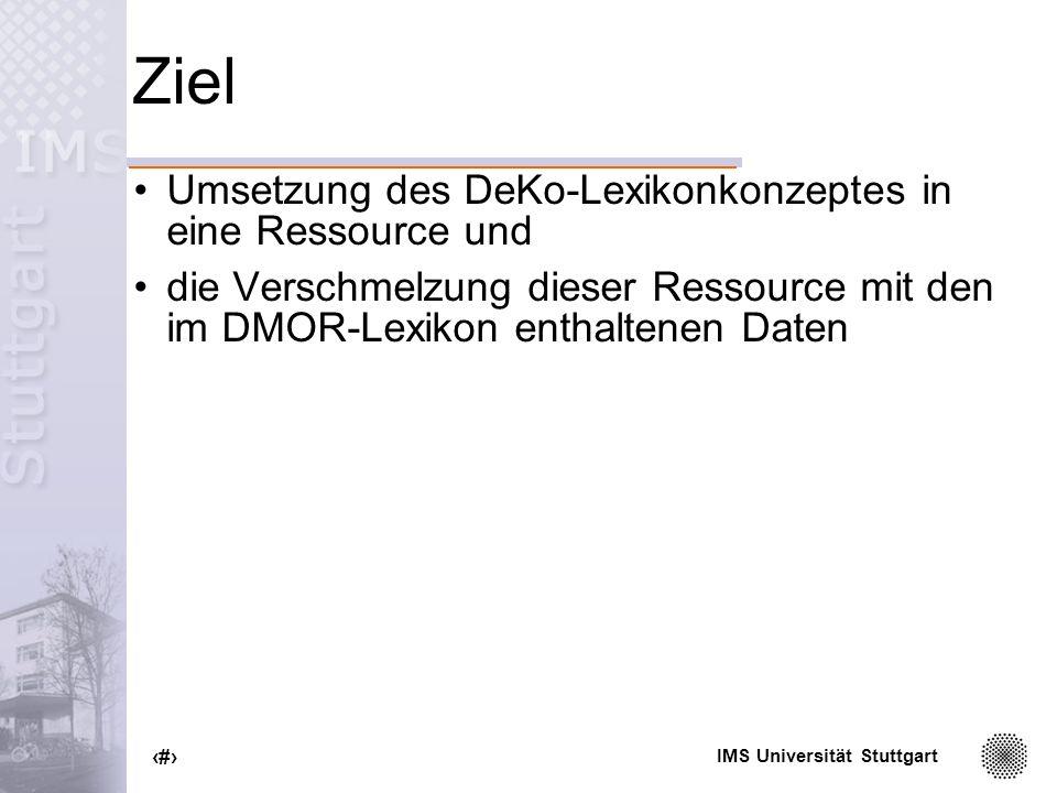 IMS Universität Stuttgart 8 Hauptanforderungen an das Lexikon Rückwärtskompatibilität Abbildung in das von der Morphologie geforderte Format Erweiterbarkeit inhaltlich wie strukturell Wartbarkeit Flexibilität XML (eXtensible Markup Language)