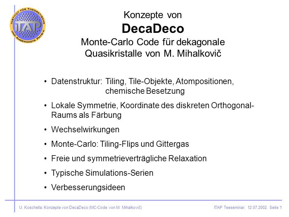 ITAP Teeseminar, 12.07.2002, Seite 1U. Koschella: Konzepte von DecaDeco (MC-Code von M.