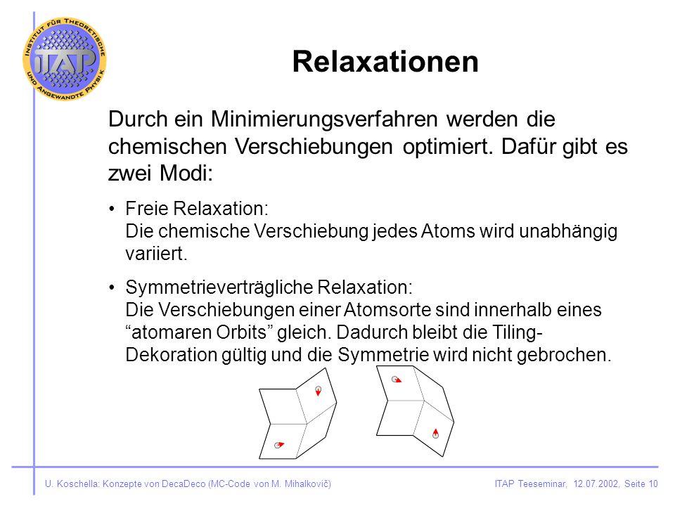 ITAP Teeseminar, 12.07.2002, Seite 10U. Koschella: Konzepte von DecaDeco (MC-Code von M.