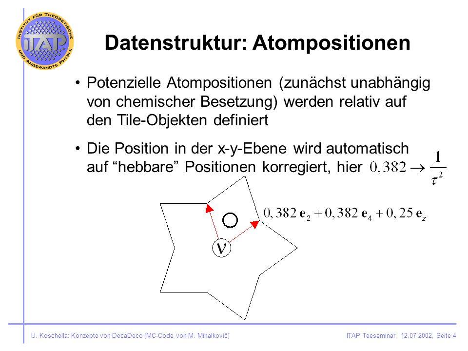ITAP Teeseminar, 12.07.2002, Seite 4U. Koschella: Konzepte von DecaDeco (MC-Code von M.