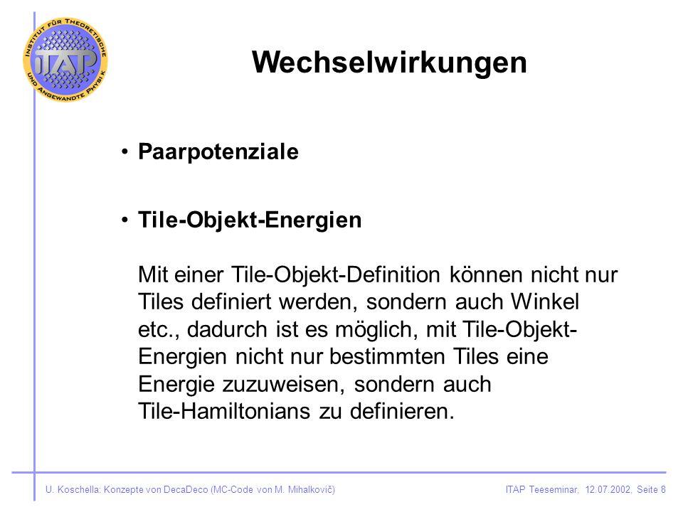 ITAP Teeseminar, 12.07.2002, Seite 8U. Koschella: Konzepte von DecaDeco (MC-Code von M.