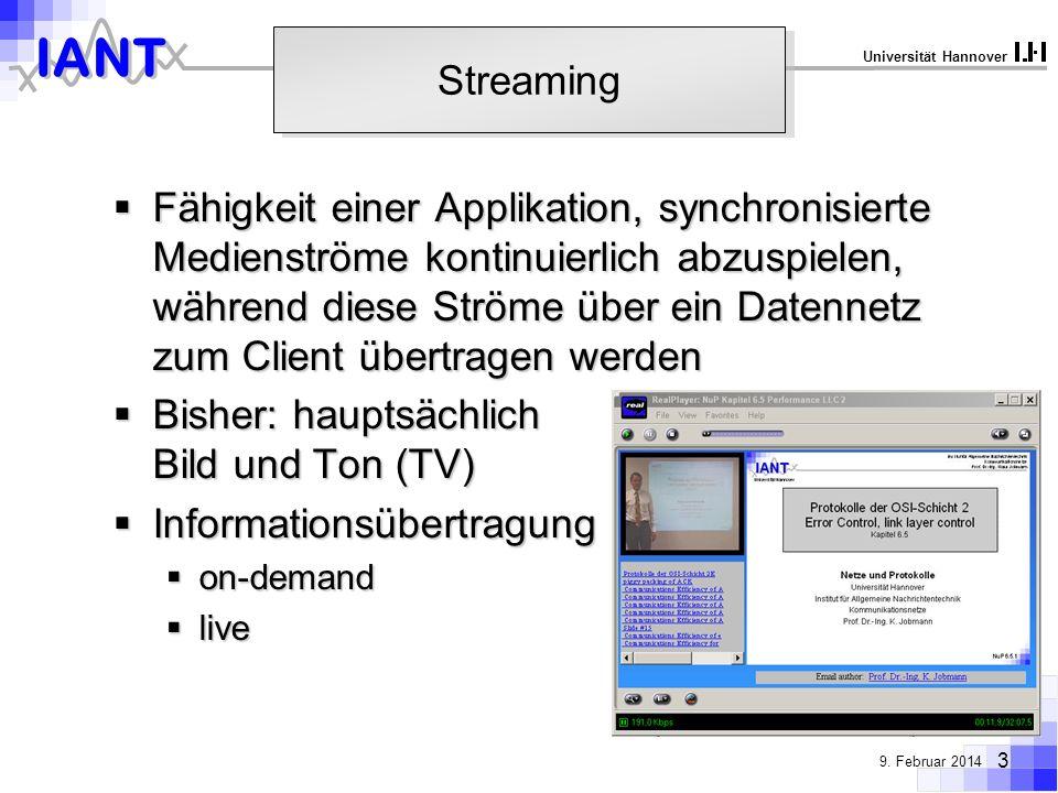 IANT 3 9. Februar 2014 Universität Hannover Streaming Fähigkeit einer Applikation, synchronisierte Medienströme kontinuierlich abzuspielen, während di