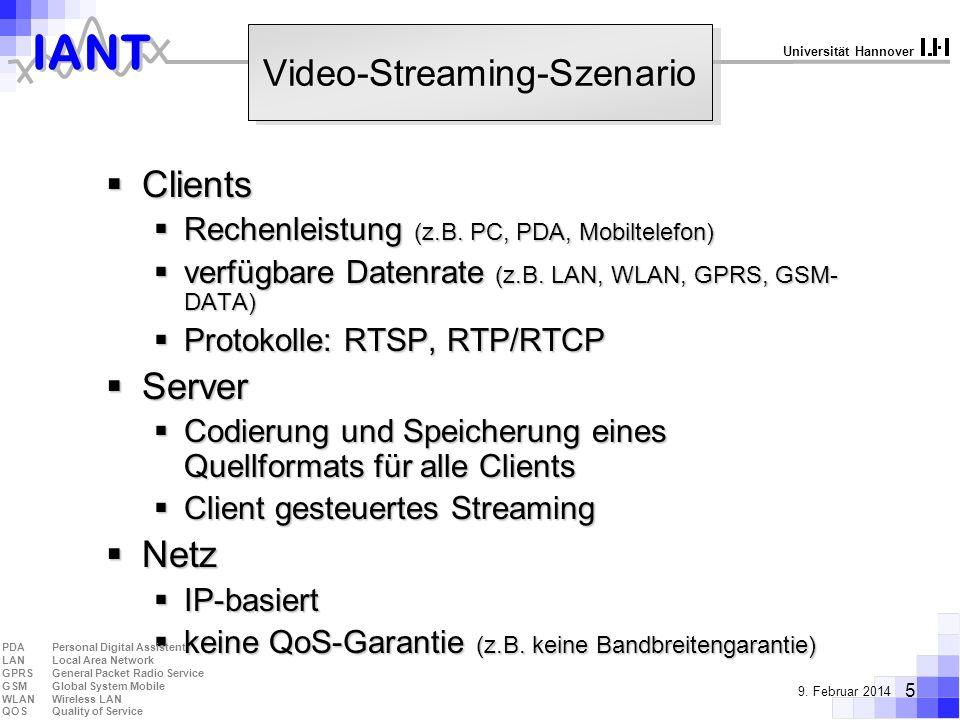IANT 5 9. Februar 2014 Universität Hannover Video-Streaming-Szenario Clients Clients Rechenleistung (z.B. PC, PDA, Mobiltelefon) Rechenleistung (z.B.
