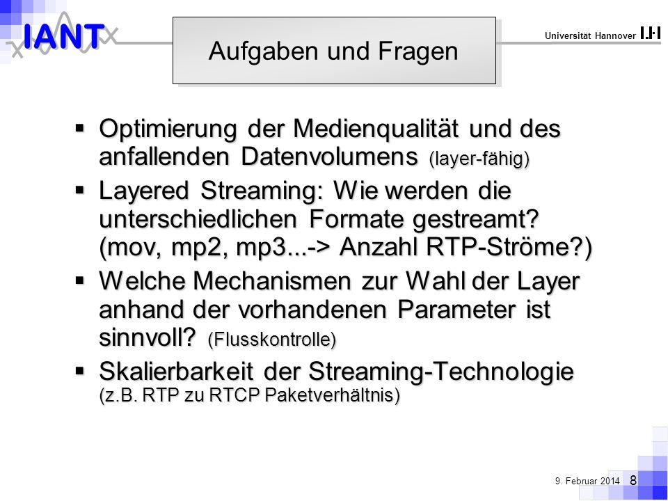 IANT 8 9. Februar 2014 Universität Hannover Aufgaben und Fragen Optimierung der Medienqualität und des anfallenden Datenvolumens (layer-fähig) Optimie