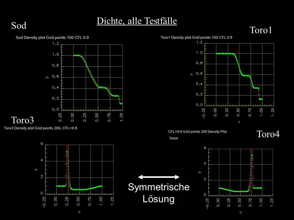Dichte, alle Testfälle Toro3 Toro1 Sod Toro4 Symmetrische Lösung