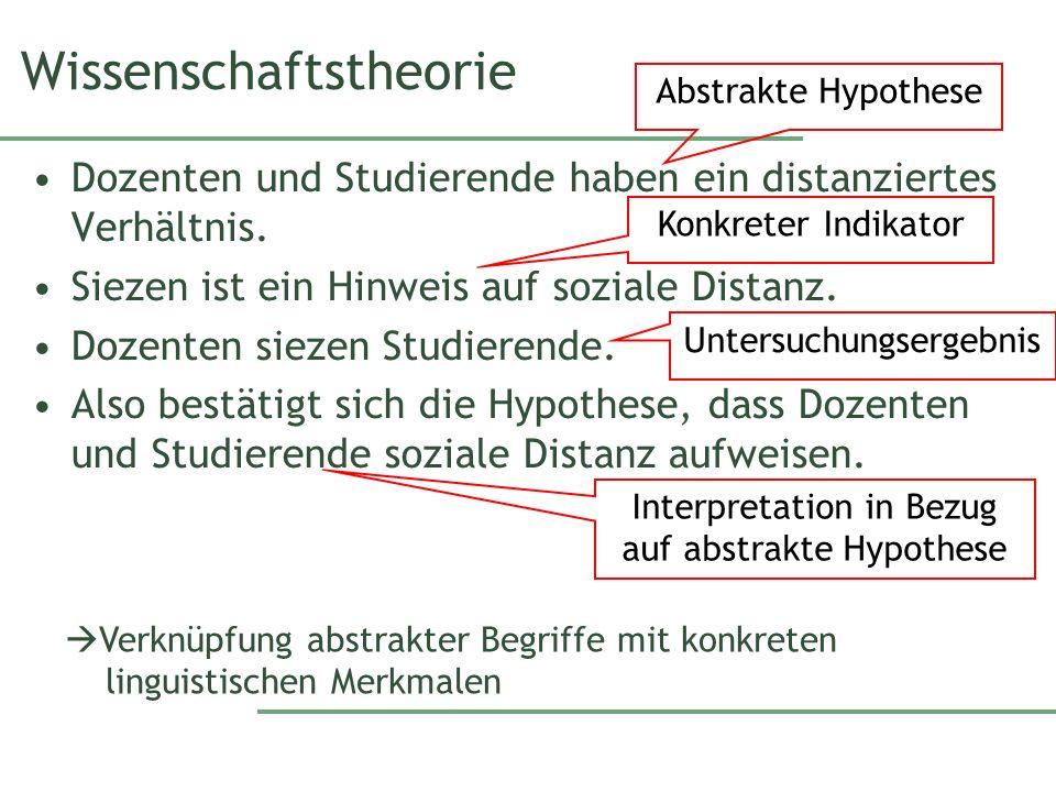 Wissenschaftstheorie Dozenten und Studierende haben ein distanziertes Verhältnis.